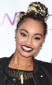 Leigh-Anne Pinnock looked playfully chic wearing this two-tone braided bun during the launch of Little Mix's new fragrance.