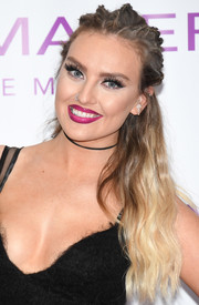 Perrie Edwards polished off her beauty look with a shiny berry lip.