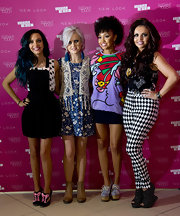 Jesy Nelson sported diamond-print, black-and-white skinny pants while at the launch of Little Mix's new nail collection.