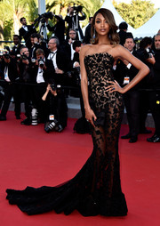 Jourdan Dunn kept the sheer trend going with this black Ralph & Russo Couture strapless gown at the Cannes premiere of 'The Little Prince.'
