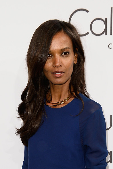 Liya Kebede Gold Collar Necklace [hair,face,hairstyle,beauty,long hair,layered hair,shoulder,brown hair,fashion,electric blue,calvin klein,model,liya kebede,cannes,france,party,party,cannes film festival]