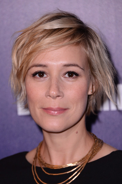 Liza Weil Layered Razor Cut [hair,face,hairstyle,eyebrow,blond,chin,head,forehead,lip,layered hair,arrivals,people,liza weil,upfronts,the new york,the highline hotel,entertainment weekly,celebration]