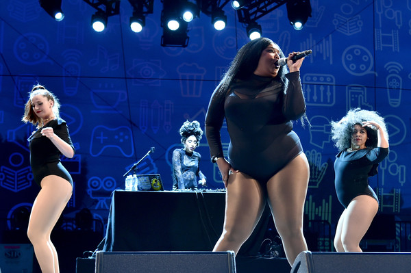 Lizzo Bodysuit [performance,entertainment,performing arts,stage,music artist,thigh,performance art,event,singer,public event,lizzo,the reef,los angeles,california,entertainment weekly,popfest]