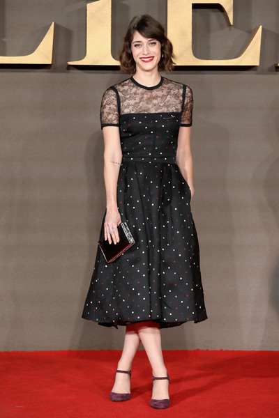 Lizzy Caplan Box Clutch [clothing,fashion model,dress,carpet,fashion,red carpet,flooring,pattern,hairstyle,premiere,red carpet arrivals,lizzy caplan,uk,england,london,odeon leicester square,allied,premiere]