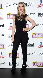 Katherine Ryan looked sleek and sophisticated in black lace-print skinny pants at the Loaded LAFTA's.