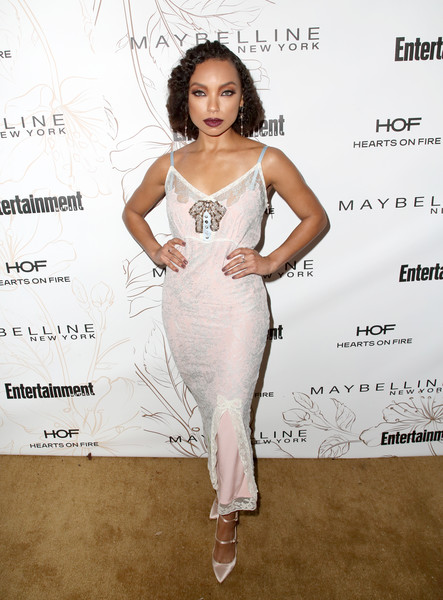Logan Browning Evening Pumps [clothing,fashion model,dress,shoulder,hairstyle,cocktail dress,fashion,beauty,waist,fashion design,nominees,logan browning,screen actors guild awards,california,los angeles,chateau marmont,new york,entertainment weekly hosts celebration,maybelline,nominees celebration]