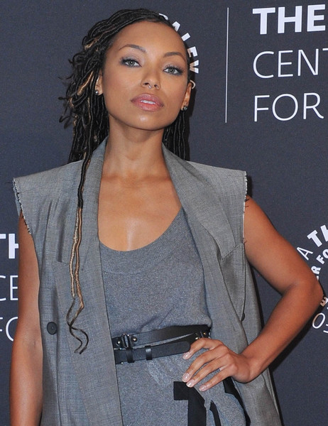 Logan Browning Dreadlocks [hair,hairstyle,beauty,long hair,muscle,outerwear,black hair,lace wig,model,fashion design,dear white people,paley center for media presents: an evening with,an evening with,beverly hills,california,the paley center for media,logan browning]