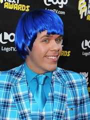The outrageous blogger did his best smurf impersonation, wearing a blue flannel suit with a matching wig.