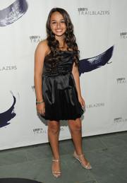 Jazz looked prom-ready in a bubble-hem LBD at the Logo TV Trailblazers event.