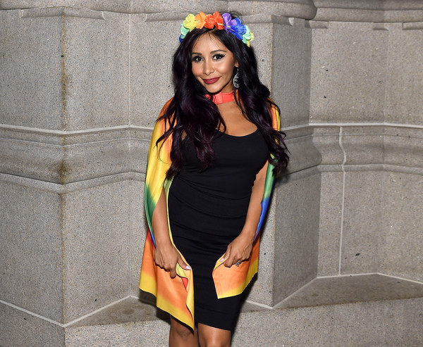 More Pics of Nicole Polizzi Long Wavy Cut (1 of 11) - Nicole Polizzi Lookbook - StyleBistro [clothing,yellow,orange,shoulder,fashion,dress,street fashion,headgear,costume,fashion accessory,logo,arrivals,snooki,trailblazer honors,cathedral of st. john the divine,new york city]