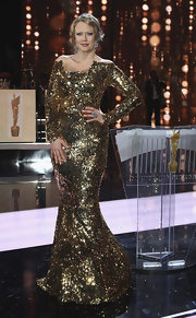 Barbara Schoeneberger donned a glittery dress at the 2011 German Film Awards.