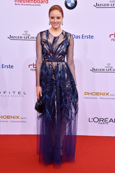 Barbara Meier worked the sheer trend with this embroidered blue number at the German Film Awards.