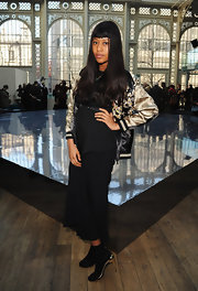 VV Brown chose a flowy black skirt to keep her look simple but airy at the London College of Fashion MA.
