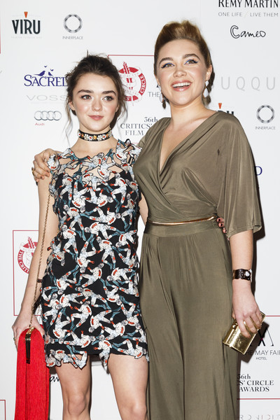 Florence Pugh accessorized with an elegant gold cuff bracelet at the 2016 London Critics' Circle Film Awards.