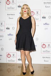 Kate Winslet donned a cute and classic Alaia fit-and-flare LBD with a perforated hem for the London Critics' Circle Film Awards.