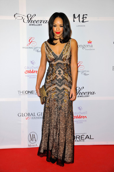 Sarah-Jane Crawford stepped out on the London Global Gift Gala red carpet looking like a goddess in a low-cut sheer-overlay gown.