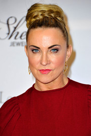 Meg Matthews wore her hair in a braided high bun during the London Global Gift Gala.