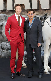 Armie's vibrant red suit was definitely an attention-grabber at the premiere of 'The Lone Ranger.'