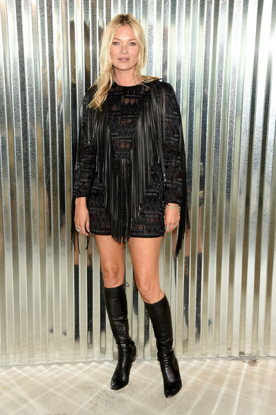 Kate Moss went hippie in a fringed LBD by Longchamp during the brand's Spring 2019 show.