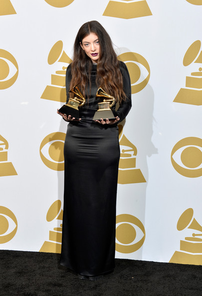 Lorde Evening Dress [royals,song of the year award,clothing,dress,yellow,carpet,fashion,fashion model,flooring,long hair,formal wear,waist,singer lorde,winner,best pop solo performance award,room,staples center,press room,los angeles,56th grammy awards]
