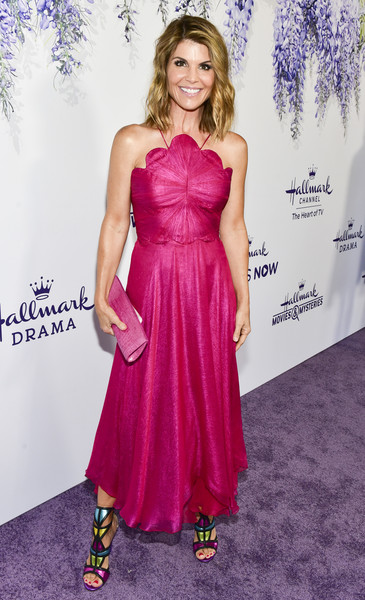 Lori Loughlin Leather Clutch [red carpet,dress,clothing,pink,purple,strapless dress,carpet,hairstyle,cocktail dress,gown,fashion model,lori loughlin,summer tca,residence,beverly hills,california,hallmark channel]