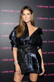 Heidi Klum styled her jacket dress with a black obi belt by B-Low the Belt for the launch of the Eye Bangle.