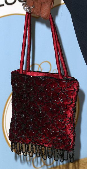Lorraine Toussaint Beaded Tote [lorraine toussaint,essence black women in hollywood awards luncheon,handbag,bag,red,shoulder bag,maroon,fashion accessory,material property,leather,pattern,coquelicot,beverly hills hotel,california,sixth annual essence black women in hollywood awards luncheon]