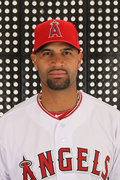 Albert Pujols wore his red Los Angeles Angels baseball cap for photo day.
