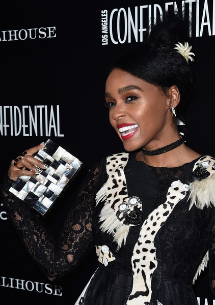 Janelle Monae matched an Emm Kuo patchwork box clutch with a black-and-white dress for the Los Angeles Confidential Spring Oscars issue celebration.