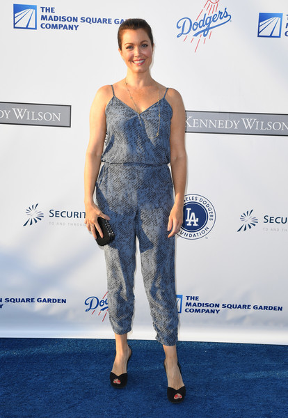 Bellamy Young was summer-cool in a printed spaghetti-strap jumpsuit during the Blue Diamond Gala.