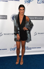 Lea Michele styled her look with nude ankle-tie heels by Aquazzura.