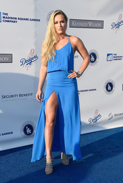 Lindsey Vonn flaunted major leg in a high-slit Mason by Michelle Mason maxi dress at the Blue Diamond Gala.