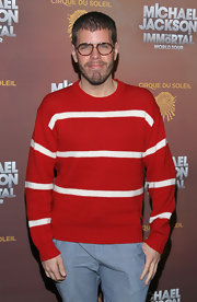 One month after Christmas, it seemed Perez Hilton was still feeling the holidays with this striped red crewneck sweater.