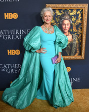 Helen Mirren made the grandest entrance in a turquoise taffeta opera coat by Badgley Mischka at the LA premiere of 'Catherine the Great.'