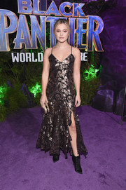 Olivia Holt shimmered in a metallic embroidered slip dress by Alice McCall at the world premiere of 'Black Panther.'