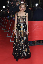 Sienna Miller showed plenty of skin in a sheer, floral-embroidered corset gown by Dior at the Berlinale International Film Festival premiere of 'The Lost City of Z.'