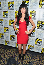 Ksenia Solo showed off her enviable figure in a red bandage dress at Comic-Con 2012.