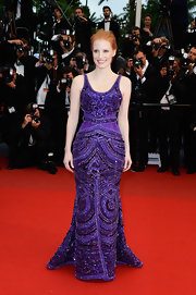 Jessica Chastain looked totally regal in this deep violet beaded gown with a fit-and-flare skirt.