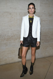 Jennifer Connelly topped off her outfit with a cropped white jacket, also by Louis Vuitton.