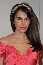 Caroline Sieber attended fashion week in Paris wearing her hair straight with wispy side-swept bangs.