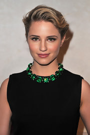 Dianna Agron attended the Louis Vuitton-Marc Jacobs exhibition wearing a smoky-eyed makeup look created with shimmering shades of khaki shadow.