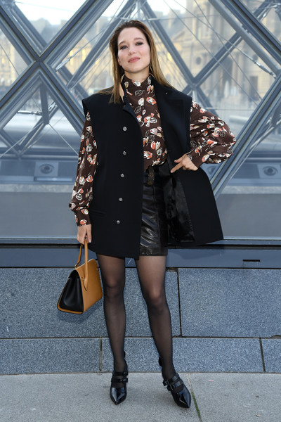 More Pics of Lea Seydoux Pumps (1 of 6) - Heels Lookbook - StyleBistro [clothing,street fashion,black,fashion,coat,fashion model,outerwear,lady,snapshot,brown,lea seydoux,part,paris,france,louis vuitton,paris fashion week womenswear fall,photocall - paris fashion week womenswear fall]