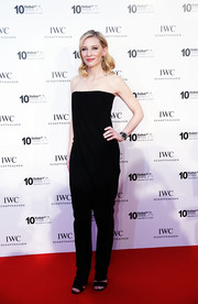 Cate Blanchett went for understated sophistication with this strapless black Givenchy jumpsuit during the IWC Filmmakers Award.