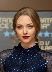 Amanda pulled back her golden locks into a low curly bun for the 'Lovelace' screening in London.