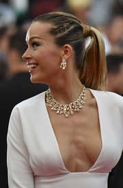 Petra Nemcova wore her hair in a ponytail accented with a small braid during the Cannes Film Festival screening of 'Loveless.'