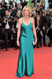 Robin Wright went for a slinky turquoise slip gown by Michelle Mason when she attended the Cannes Film Festival screening of 'Loveless.'