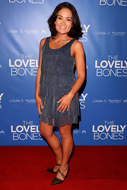 Yumi Stynes looked precious in this shimmery tiered mini dress.