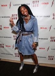 Brandy went for a distressed-chic look with this frayed denim shirtdress at the 'City Jam with Brandy' event.