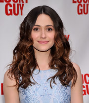 A pale pink lip softened Emmy Rossum's evening look and made her skin look glowing and youthful.
