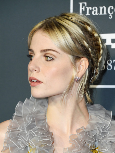 Lucy Boynton Gemstone Studs [hair,hairstyle,face,chin,blond,eyebrow,ear,long hair,forehead,chignon,arrivals,jewelry,lucy boynton,critics choice awards,detail,hair,santa monica,california,barker hangar]
